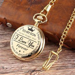 "$enCountryForm.capitalKeyWord NZ - Silver Black Gold ""To MY SON"" Laser Word Men Boy Analog Quartz Pocket Watch with Pendant Chain"