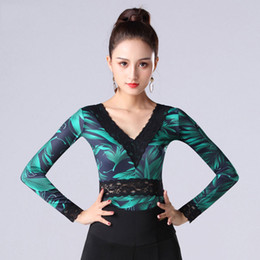92d4bbc3cb25 Latin Dance Top For Women Long Sleeve Fashion Print Sexy V-Neck Lace Dancing  Shirts Ladies Practice Clothes Samba Cha DNV11204