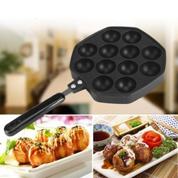 ceramic balls Australia - 12 Cavities Aluminum Alloy Takoyaki Maker Octopus Small Balls Baking Forms Mold Pan Home Cooking Tools