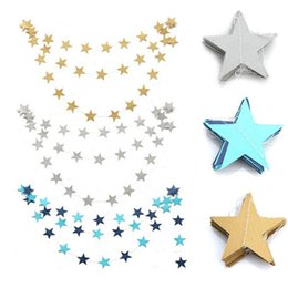 christmas ornament displays Canada - 4 M Gold Silver Blue Stars Christmas Birthday Garland Hanging Ornaments Window Display Flag Party Decor Supplies