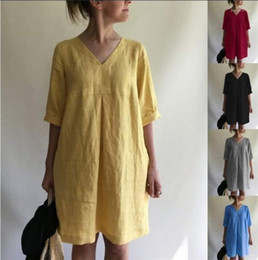Wholesale half sleeve womens summer dress resale online – Lantern Dress Summer Half Sleeve V Neck Dress Female Mid Waist Apparel Fashion Womens Panelled