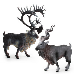 $enCountryForm.capitalKeyWord Australia - 2pcs North America Caribou Christmas ice reindeer Forest Wild Animal model action figures Solid Collection Children toy Gift For Kids