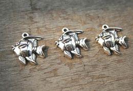 $enCountryForm.capitalKeyWord Australia - 10PCS lot--Angelfish Charms Antique silver Angel Fish Pendants Charms,Tropical Fish 21x24mm