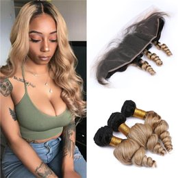 $enCountryForm.capitalKeyWord Australia - Honey Blonde Ombre Loose Wave Hair Bundles with Lace Frontal Closure 1B 27 Ombre Wavy Human Hair Weaves and Frontals