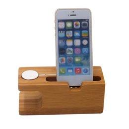 Bamboo Wood Зарядка для док-станции Держатель для телефона Кронштейн Smart Watch Stand