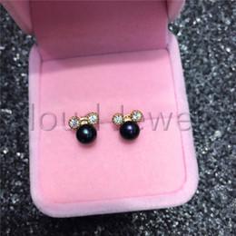 $enCountryForm.capitalKeyWord Australia - Freshwater Pearl 925 Silver Earring Zircon Dark Blue Round Steamed Bread Pearl Gold Stud Earrings Women Jewelry Gift Free Shipping