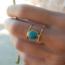 $enCountryForm.capitalKeyWord NZ - New Gold Plated Two Layer Finger Rings For Women Vintage Tibetan Blue Stone Turquoise Ring Size 6 7 8 9 10