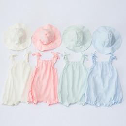 $enCountryForm.capitalKeyWord Australia - 2019 summer baby girl onesies newborn sun hats + cotton one piece jumpsuits toddler girls suspenders rompers infant kids boutique clothing