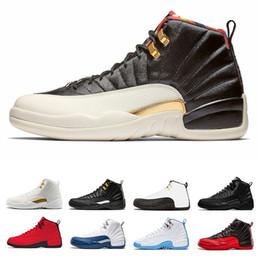 new product 6a79c 0d708 Nike air Jordan retro Entwurfs-Turnschuh der Männer beschuht Basketball- Schuhe 12 12s weißes Turnhallenrot Gamma-Blau Mailand-Barons führen Stiere  2019 ...