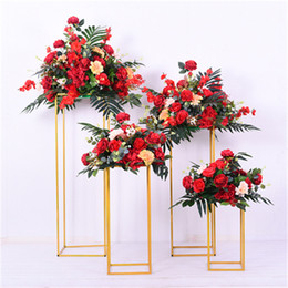 Discount gold candelabras wedding Display Flower Stand Candle Holder Road Lead Table Centerpieces Metal Gold Stand Pillar Candlestick For Wedding Candelabra 01