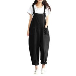 Harem Jumpsuits Women UK - Women Sleeveless Pockets Dungaree Baggy Jumpsuits Overalls Fashion Strappy Loose Long Harem Pants Bib Trousers Plus Size
