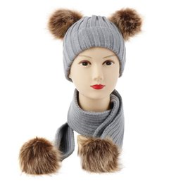 Dark Blue Suits Australia - Amazon European Baby Double Ball Wool Hats Knitting Hat Super Imitate Raccoon Mao Dongji Scarf Suit