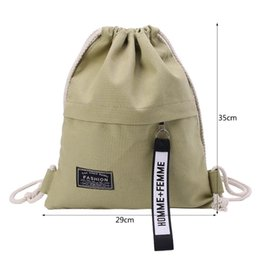 Drawstring School Bags Australia - Cinch Sack Canvas Storage School Gym Drawstring Bag Pack Rucksack Backpack Pouch