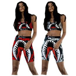 Kadınlar Ethika Mayo Kolsuz Yelek Tankları + Şort 2 Adet Set Köpekbalığı Kamuflaj Mayo Yüzme Şort Pantolon Eşofman Bikini Takım Elbise INS yazdır