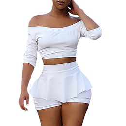 White Shorts Australia - Summer Two Piece Set Women Solid Tracksuit Women White Sexy Shorts Set Vintage Womens Two Piece Outfits 2019 Chandal Mujer