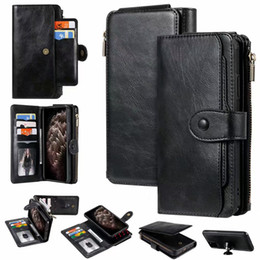 mounting card NZ - Detachable Folio Vegan Leather Wallet Chain Protective Shell 11 Card Slots Car Mount 3 in 1 Bracket Holster Phone Cover for iPhone Samsung