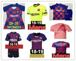 Опт 19/20 10 # Messi Soccer Jersey 2019 Мужские женские детские комплекты 8 Iniesta 9 Suárez 26 MALCOM 11 Dembele Coutinho Футболки форменные