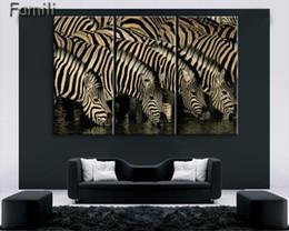 Zebra Print Art Australia - Mordern Canvas Painting Zebra Frameless Animal Art Poster Wall Horse Oil Picture Home Decor Print on Canvas for Living Room 3pcs