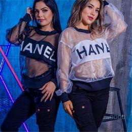 Kadınlar Tasarım Trendi Moda Tişört Polyester Organze Markalı Harf Baskılı See-through Bluzlar Kadınlar Plajı Cover Up C62608 Tops