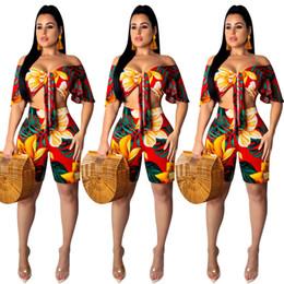Summer Short Pants Set For Woman Australia - Beauty Summer Style Women Tracksuit Short Sleeve Print 2 Pieces Outfits For Women Pants Set Lady Tracksuit LF98