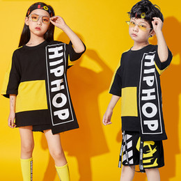 Discount street dance clothing Kids Hip Hop Dance Costumes Boys And Girls Jazz Dance Clothing Children Performance Street Stage Costume Suit Wear BL127