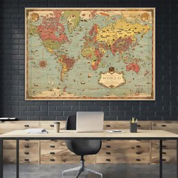 wall stickers canvas NZ - 1931 Maps of World Adventure HD Detail Map Vintage Canvas Paintings Retro Kraft Posters Wall Stickers Home Decor Family Gift
