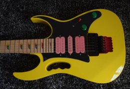 China RARE 24 Frets 77 Yellow Electric Guitar Pyramid Fretboard Inlay,Floyd Rose Tremolo, Black Hardware, Pink Pickups, Lions Claw Tremolo Cavity suppliers