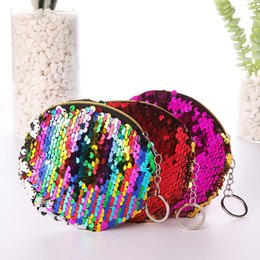 Little Hand Bags Wholesale Australia - Girls mini coin purse sequins wallet lovely little girls phone Earphone bag card holder coin pouch hand bag girl pocket change round bag 734