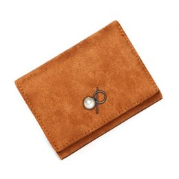 $enCountryForm.capitalKeyWord Australia - XUNMEI Short Brown Suede Wallet for Women Cute Pearl Small Two-fold Woman Purses Cartera Mujer Girls ladies Thin Money Wallet