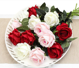 White roses online shopping - 11PCS Romantic Rose Artificial Flower DIY Red White Silk Fake Flower for Party Home Wedding Decoration Valentine Day