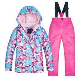 Ski Suits For Children Australia - Girls Ski Suit Children Windproof Waterproof Colorful Suits for Boy Snowboard Snow Pants Winter Clothes Sets zestaw snowboardowy