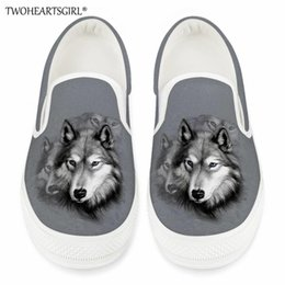 vulcanized canvas shoes Canada - Twoheartsgirl Women Spring Loafers Wolf Platform Female Canvas Casual Flats Slip-on Vulcanized Shoes Ladies Shallow Sneakers
