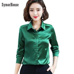 7633dd45b5e31 Blusa Women Elegant Wine red Green Satin silk Shirt Turn Down Collar Longth Sleeve  Female Formal Office OL Blouse Women Tops