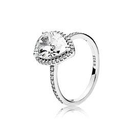 Großhandel Authentischer 925 Sterling Silber CZ Diamant Hochzeit RING mit LOGO Original-Box für Pandora glänzende Tropfen Stein Ringe