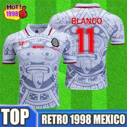 b3e08a49a5d RETRO 1998 MEXICO VINTAGE BLANCO 11# Soccer Jerseys Thailand Quality  HERNANDEZ Home Green uniforms Jersey Kit camiseta futbol Football shirt
