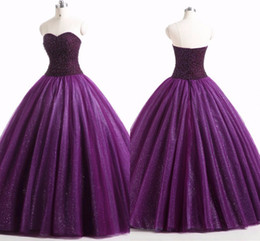 $enCountryForm.capitalKeyWord Australia - Dark Purple Tulle Quinceanera Dresses Pearls Beaded Strapless Open Back Sweet 16 Dress Ball Gown Prom Dresses 8th Grade Gowns Real Image