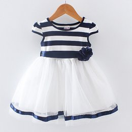 Cotton Newborn Gowns Australia - Newborn Girl Summer Dress New Princess child Girls Dresses Sleeveless infant Cotton Striped Clothing
