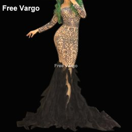 Discount black rhinestone feather dress - Sexy Women Drag Queen Costumes Sexy Black Feather Rhinestone Event Party Prom Long Dresses Celebrity Runway Stage For Si