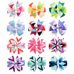East asian hair accEssoriEs online shopping - Color Grosgrain Ribbon Bows With Clip Girls Kids Wave Printed Stripe Tail Bow Pinwheel Hair Clips quot Hair Pin Accessories