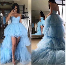 $enCountryForm.capitalKeyWord Australia - 2019 Fashion Ruffles High Low Tutu Prom Dresses Tiered Trendy Long Tulle Prom Gowns Sweetheart Off Shoulder Vestidos Longo