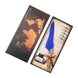 $enCountryForm.capitalKeyWord UK - Excellent Antique Quill Feather Dip Pen Writing Ink Set Stationery Gift Box with 5 Nib Wedding Gift Quill Pen Fountain Pen Free DHL