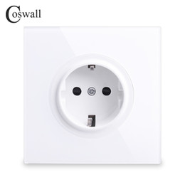 Wholesale Coswall 2018 New Arrival Crystal Glass Panel 16A EU Standard Wall Power Socket Outlet Grounded With Child Protective Lock