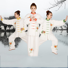 Chinese Traditional Shirts For Men Australia - Chinese Kung Fu Tai Chi Uniform Spring Autumn Long Sleeve Traditional embroidered Tang Suit sets Shirt Pants for Men Women