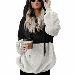 9f3c74e5360 Large size Faux Fur Teddy Bear Coat Patchwork Women Hoodies Winter zipper  Long Sleeve Female pullover Plus Size 5XL Sweatshirts