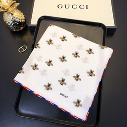 Bee Scarves Australia - Luxury scarf brand fashion bee small scarf collar scarf high quality accessories size 55*55cm no box