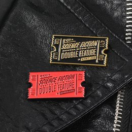 UniqUe bag designs online shopping - 2019 New Fashion Unique Design Unisex Enamel Horror Movie Ticket Brooch Pin Bag Denim Jacket Collar Badge Enamel Pin Punk Gift