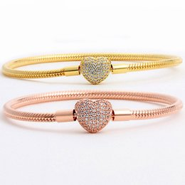 $enCountryForm.capitalKeyWord Australia - Original Rose & Gold Moments Heart Clasp With Crystal Bracelet Bangle Fit 925 Sterling Silver Bead Charm DIY Europe Jewelry