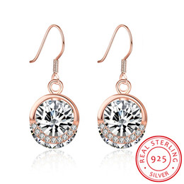 White Rose Pattern Australia - Round Pattern Earrings Rose Gold Plated Mosaic White Zircon Dangle&Chandelier Accessories Earring Fashionable Christmas Party Gift POTALA030