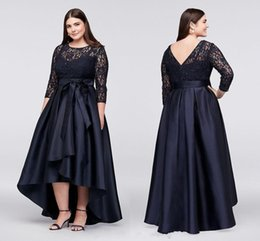 Mother Bride Dark Navy Dress Australia - Vintage Elegant Dark Navy Lace Plus Size Mother Of The Bride Dresses 3 4 Long Sleeves High Low Evening Gowns Evening Party Dresses
