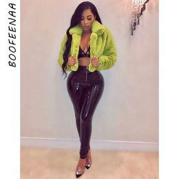 Wholesale pink cropped jacket online – design BOOFEENAA Fashion Lime Green Short Faux Fur Coat Winter Neon Fluorescent Warm Cardigan Cropped Jacket Fluffy Teddy Coats C48AH36 Y200109